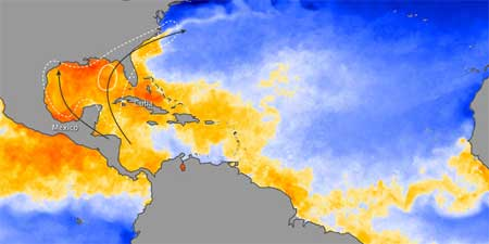 Sea temperature at the end of June 2009
