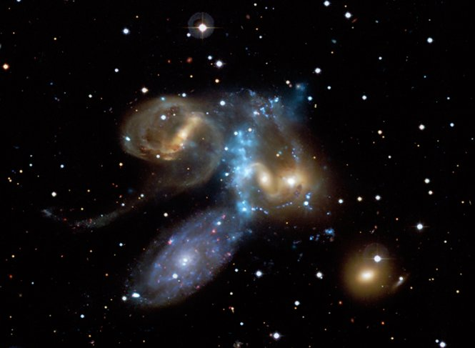 Stephans Quintet, a compact group of galaxies discovered about 130 years ago and located about 280 million light years from Earth.