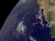 Remnant clouds from Blanca are seen in the middle of this GOES-12 satellite image