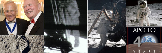 Images from Apollo 11. Top left: Apollo 11 commander Buzz Aldrin and Flight Director Gene Kranz at a