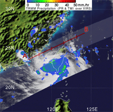 TRMM image of Tropical Depression Huaning over Taiwan