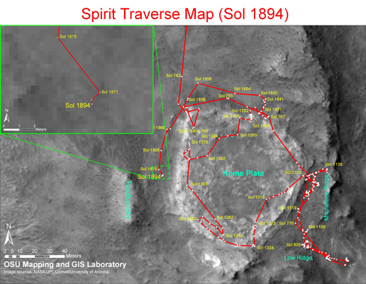 Spirit's traverse map until Sol 1894