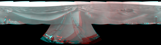 NASA's Mars Exploration Rover Opportunity used its navigation camera to take the images combined into this stereo, 360-degree view of the rover's surroundings