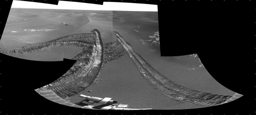 This view from the navigation camera on NASA's Mars Exploration Rover Opportunity shows tracks left by backing out of a wind-formed ripple