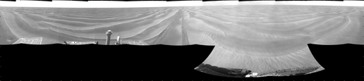 NASA's Mars Exploration Rover Opportunity used its navigation camera to take the images combined into this 360-degree view of the rover's surroundings