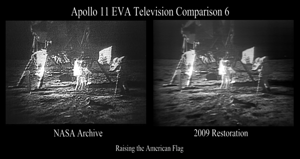 Comparison image showing video still of Neil Armstrong and Buzz Aldrin raising the American flag on the moon, before (left) and after (right) restoration.