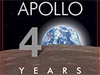 Graphic showing Earth, the lunar surface, and the words Apollo 40 Years