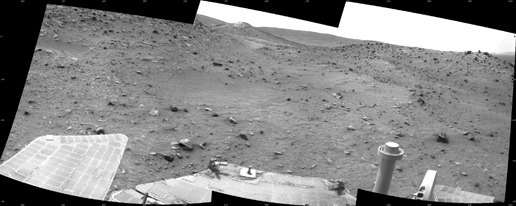 This scene combines three frames taken by the navigation camera on NASA's Mars Exploration Rover Spirit