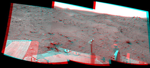This stereo scene combines frames taken by the navigation camera on NASA's Mars Exploration Rover Spirit