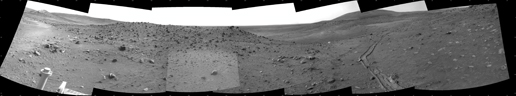 This scene combines seven frames taken by the navigation camera on NASA's Mars Exploration Rover Spirit