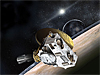 Artist's concept of the New Horizons spacecraft at Pluto