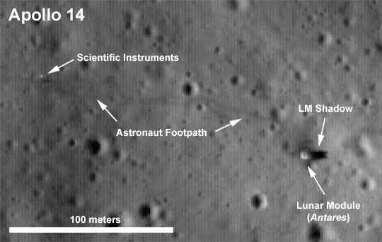 Annoted image of Apollo 14 landing site image by LRO