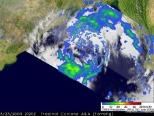 This image, taken at 21:20 UTC on May 23, 2009, shows the horizontal pattern of rain intensity within the storm.