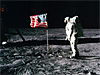 Buzz Aldrin and the U.S. flag on the surface of the moon