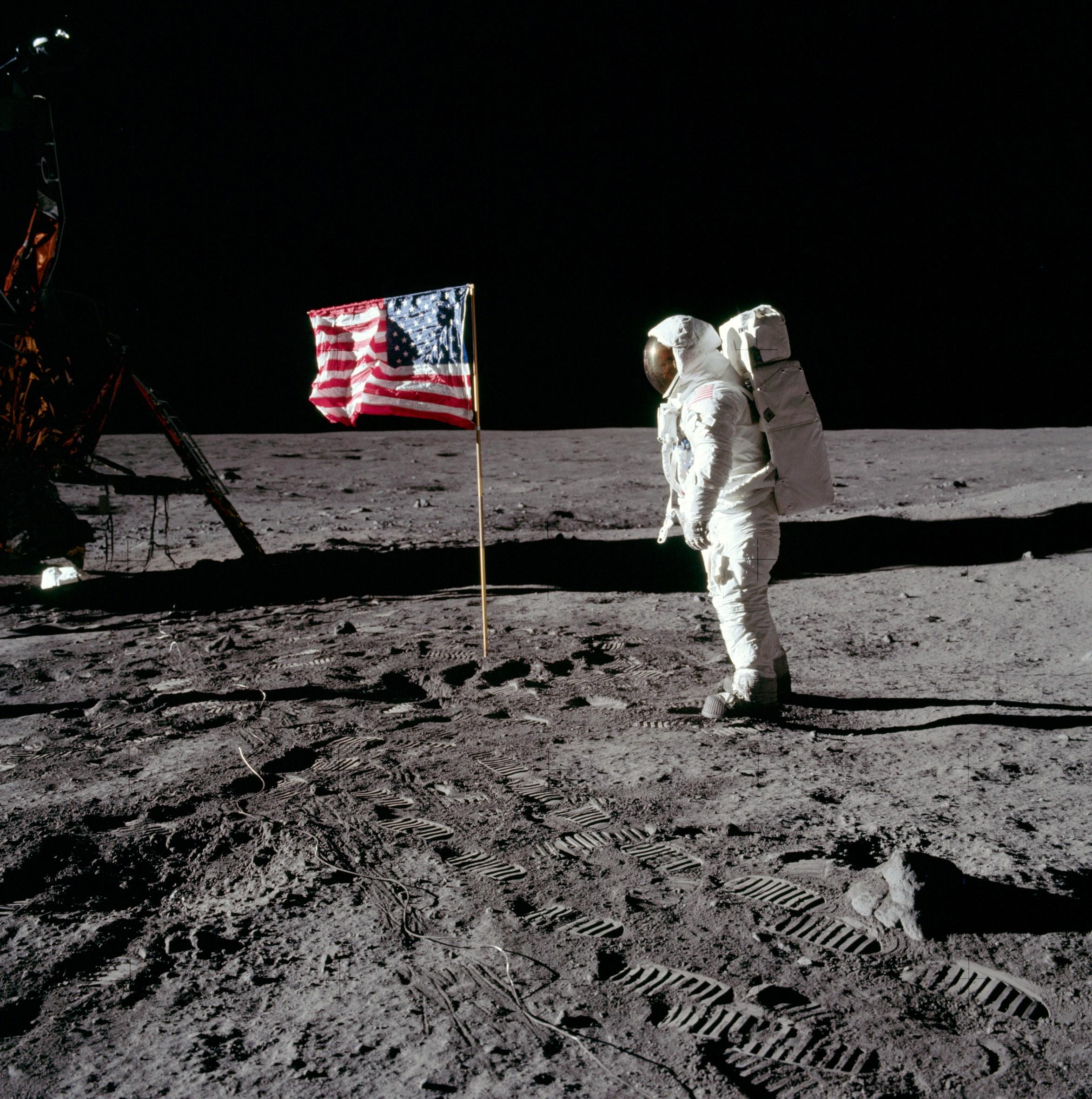 Moon Images Nasa Flag on Moon