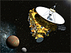 Artist's concept of the New Horizons spacecraft as it approaches Pluto and its three moons