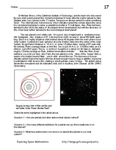 First page of Problem 17, Exploring the Dwarf Planet Eris