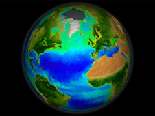 Visualization of Earth with phytoplankton and land vegetation data superimposed