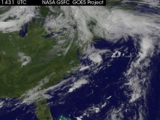 The satellite image shows the huge low over the U.S. northeast.