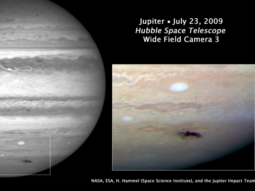 Impact site of unknown object on Jupiter