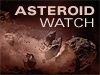 A rocky object in space with the words Asteroid Watch