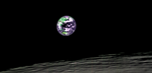 This image of Earth taken from 200 kilometers (124 miles) above the lunar surface was taken by the Moon Mineralogy Mapper