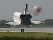 Space shuttle Endeavour lands.