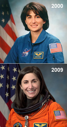 Flight Engineer Nicole Passonno Stott in 2000 (top) and 2009