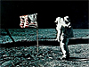 Buzz Aldrin on the moon with the U.S. flag