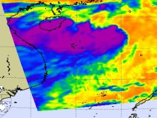 NASA's AIRS instrument captured TD#8W's cold clouds Aug. 3 at 1:47 a.m.