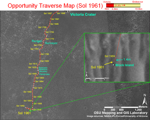 Opportunity Traverse Map update until Sol 1961
