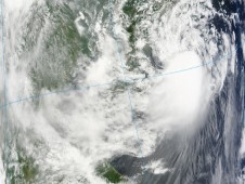 NASA's Terra satellite captured Tropical Storm Goni on August 4 using infrared imagery from the MODIS instrument.