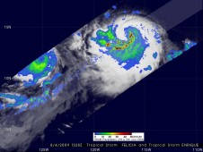 TRMM captured this image of Felicia's (left) and Enrique's (right) rainfall on August 4, 2009 9:28 a.m. EDT.