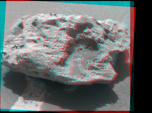 Composition measurements by NASA's Mars Exploration Rover Opportunity confirm that this rock on the Martian surface is an iron-nickel meteorite.