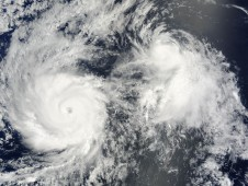 Hurricane Felicia (left) and Tropical Storm Enrique (right) side-by-side on August 5 at 3 p.m.