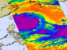 Typhoon Morakot's cold clouds stretching over 1,000 miles in diameter on Aug 6, in the East China Sea.
