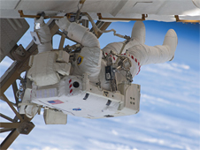 Astronaut Christopher Cassidy participates in the third spacewalk of STS-127