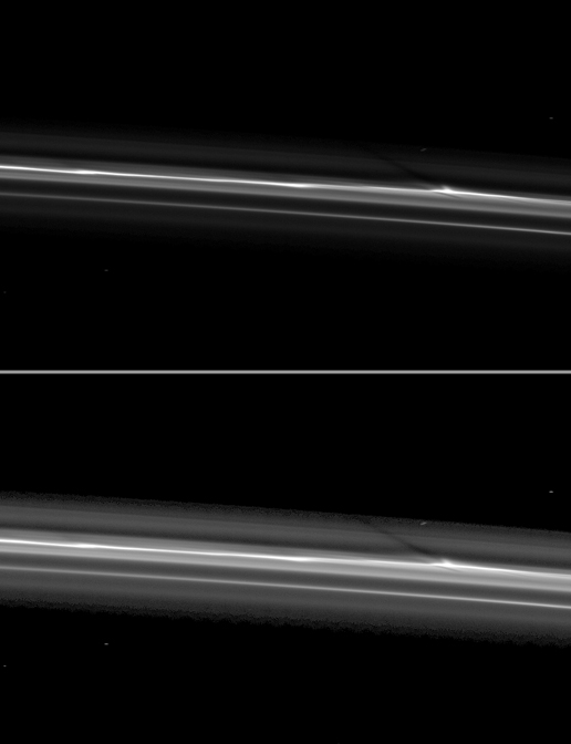 Cassini spies a shadow cast by a vertically extended structure or object in the F ring in this image