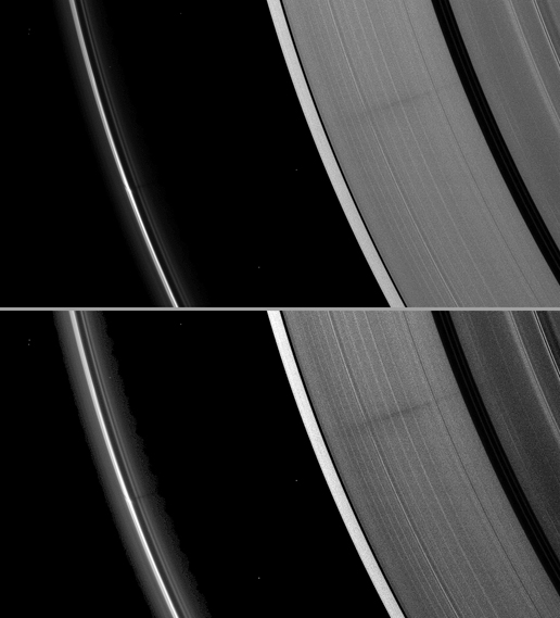 A vertically extended structure or object in Saturn's F ring casts a shadow long enough to reach the A ring in this Cassini image
