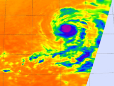 Infrared satellite image showing Hurricane Felicia's cold clouds and thunderstorms
