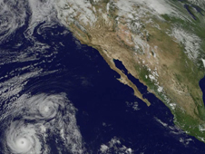 Still from GOES Project movie of Hurricane Felicia's track through the Eastern Pacific Ocean