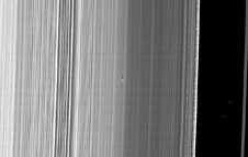 The Cassini spacecraft captured this image of a small object in the outer portion of Saturn's B ring.
