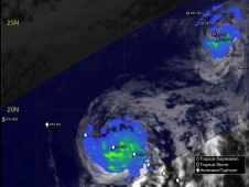 TRMM satellite reveals a weakening Tropical Storm Enrique.