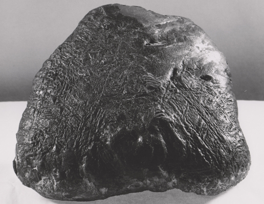 This iron-nickel meteorite found near Fort Stockton, Texas, in 1952 shows a surface texture similar to some portions of the surface of an iron-nickel meteorite that NASA's Mars Exploration Rover Opportunity found on Mars in July 2009.