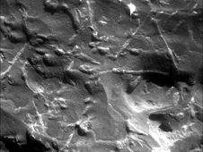 The triangular pattern of small ridges seen at the upper right in this image and elsewhere on the rock is characteristic of iron-nickel meteorites found on Earth.