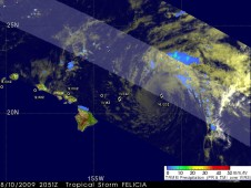 Felicia was barely a tropical storm when the TRMM satellite passed overhead on August 10.