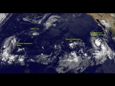 From left to right: Trop. Depression Maka, Felicia, Tropical Depression 9E, and a developing low near Mexico.