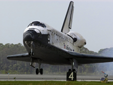 Space shuttle Discovery touches down