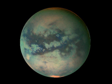 false-color image of Titan