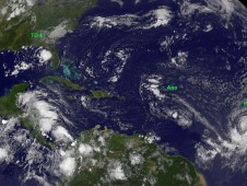 GOES-12 captured TD4 about to make landfall in the Florida Panhandle on August 16 (far left).